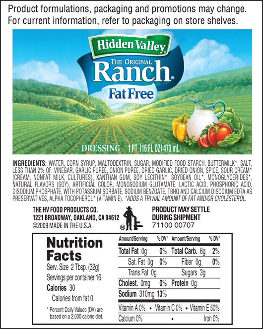 how many calories in ranch dressing photo - 1